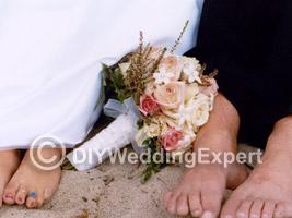 A couple that planned a beach wedding theme.