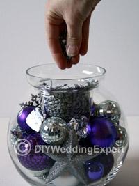 making a diy Christmas wedding centerpiece