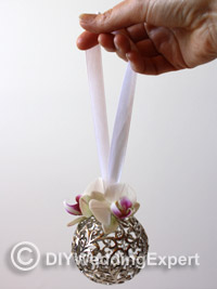 a diy orchid wedding pomander ball
