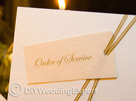 An example of a wedding ceremony programe