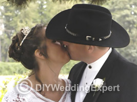 bride and groom at a western themed wedding